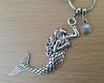 Large mermaid & shell keyring, seaside keychain, nautical bag charm