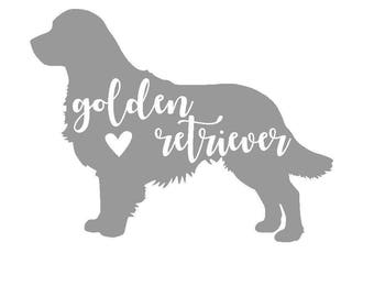 Golden Retriever Vinyl Decal | Personalized Pet Decal | Dog Sticker | Yeti Cup | Car Window Sticker | Laptop |