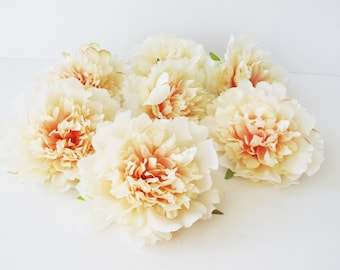 "11 Peonies Artificial Silk Flowers Soft Pink Peony measuring 4.3"" Floral Hair Accessories Flower Supplies Faux Fake DIY Wedding"