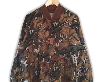 Hot Sale!!! Rare Vintage 80s MOSSY OAK Camouflage Hunting Outdoor Jacket Hip Hop Skate Swag Medium Size