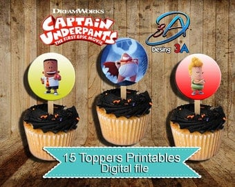 Captain Underpants, Captain Underpants Toppers , Captain Underpants Birthday, Captain Underpants Party, Cupcake Toppers, instant download