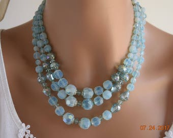 W Germany Blue Lucite Bead Necklace