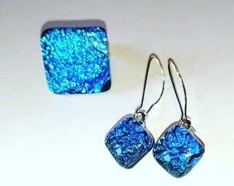 Blue dichroic glass fusing glass ring and earrings