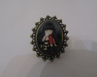 Glass cabochon Adjustable ring girl