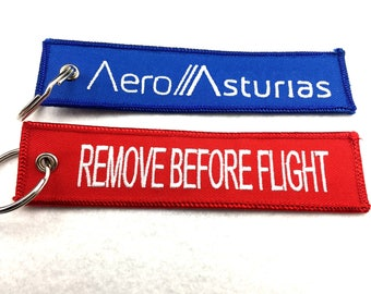 Custom remove before flight tags, red tag flights, custom embroidered key tags, remove before flight key tag