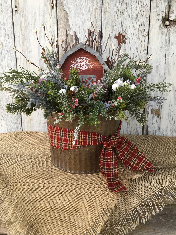Kitchen Island Centerpiece Ideas Galvanized Tin With Merry Christmas Barn Primitive Christmas