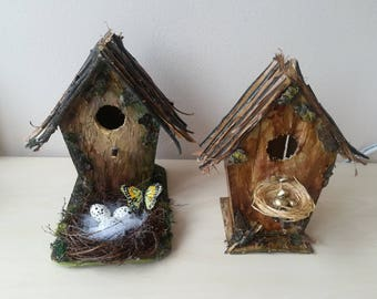 Bird House Easter Decoration, Easter Table Decoration, Easter Eggs, Easter Styrofoam Eggs, Golden Easter Eggs, Wooden House Decor, Bird Nest