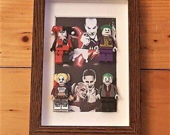 Old and New Harley Quinn and Joker Framed Set