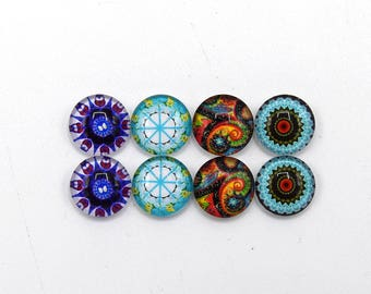 """8 cabochons round glass mixte12mm series 1 """"6"""""""