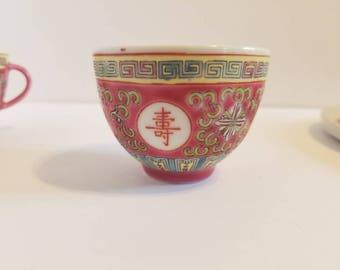 Vintage Pink Famille Chinese Tea Set with Matching Serving Tray // Mun Shou Jingdezhan // Longevity Tea Set // Chinese Tea Set