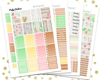 Gardening Weekly Kit for Erin Condren | Printable | Includes Blackout Files for Easy Cutlines