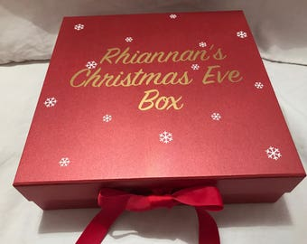 Personalised Christmas Eve box, empty or prefilled Christmas Eve box, decorative box