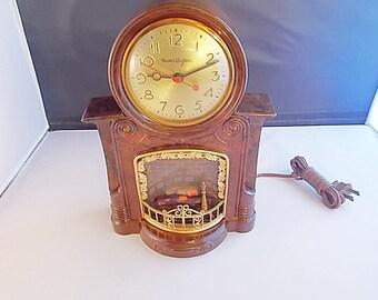Vintage Mastercrafters Animated Fireplace Clock