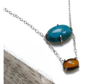 Turquoise and Tiger's Eye Layered Sterling Silver Necklace