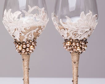 wedding wine glasses beige and brown, set of 2 glasses, wedding wine glasses Personalized wine glasses Wedding gift Glasses bride and groom