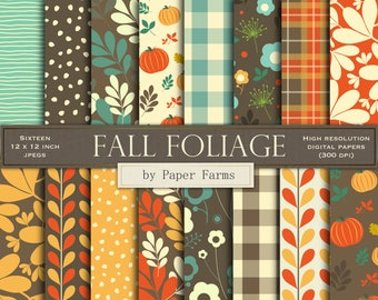 Fall digital paper, fall scrapbook paper, Thanksgiving, autumn, digital paper, pumpkin, scrapbook paper, fall foliage, backgrounds, leaves