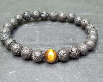 Man's bracelet - Gemstone bracelet - Natural Lava Rock and Tiger's eye men's beaded bracelet - Mixed gemstone beads bracelet - man's gift