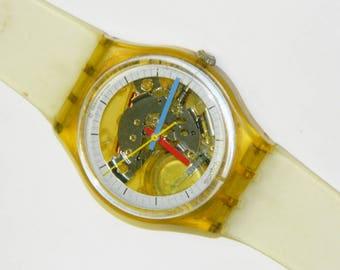 Swatch Jelly Fish vintage 1985 plastic swiss quartz watch with original 7 hole strap