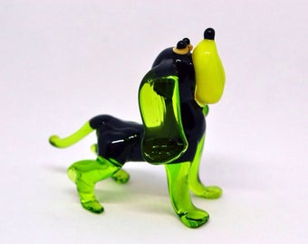 Glass dog figure fused glass animals gift for Christmas glass figure dog menagerie miniatures statue glassworking hand made glass art