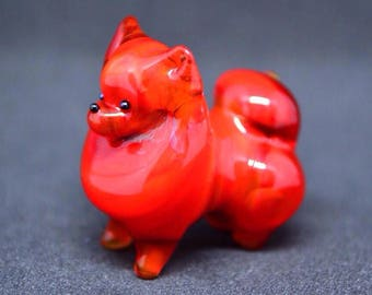 Red Glass pomeranian spitz figurine animals glass dog miniature art glass dogs toy murano animals tiny small figure glass puppy dog sculptur