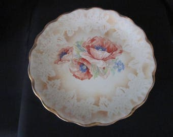 Vintage Peach Flower and Tan with Gold Trim Plate