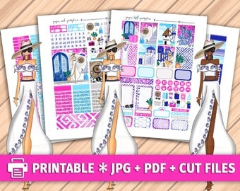 MYKONOS Printable Planner Stickers/for use with Erin Condren/Weekly Kit/Cutfiles Summer Greece Vacation Santorini Floral 4th of July