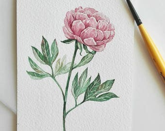 Peony painting Flower watercolor Watercolor Original Small painting Pink flower Watercolor Card