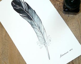 Feather Original Painting Feather Watercolor Feather  Art Grey Black Feather Wall Art Feather Decor Black and White