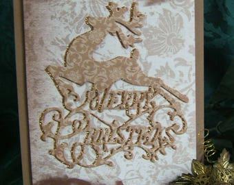 Christmas Card, Hand crafted, Reindeer, Glitter cardstock, 3D, Keepsake, Browns/Bronze', Burlap ribbon, acid free and lignin free cardstock