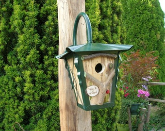 """Birdhouse, birds, wood and Metal, tits """"VILLA tits"""", cabin, Deco gardens, bird house, old Lantern recycled, turned,"""