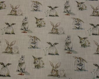 Clarke and Clarke Rabbits Cotton Linen Blended Fabric to buy by the meter, Ideal for Cushions Curtains Blinds Upholstery