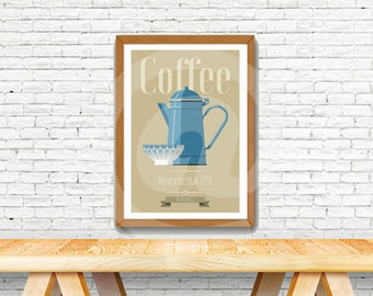 Vintage poster with french design, old red coffe pot, french style poster.