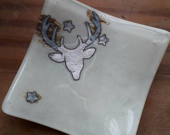 Stag fused glass dish. A small fused glass dish with a stag amongst the stars. Sterling silver foil. Trinket dish, tealight holder Soap dish
