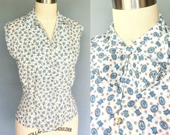 millie / 1960s sleeveless printed blouse with necktie / medium