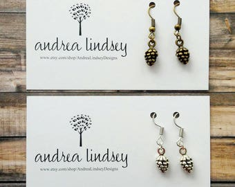 Pinecone Charm Earrings | Silver or Bronze