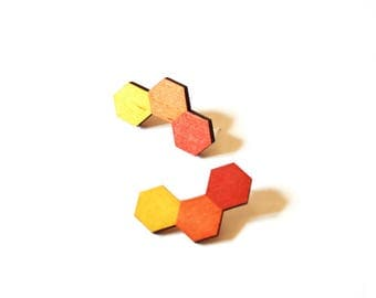 Hexagon Earrings - Hexagon Studs - Hexagon Stud Earrings - Honeycomb Earrings - Laser Cut Wood Earrings - Ecofriendly Earrings - Wood Studs