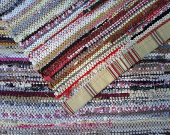 2x5 Rag Rug/ Light Tan, Cream, Beige Neutrals/ Runner/ Handwoven/ Beachy/ Hit and Miss pattern/ Canvas bound/Long Rug