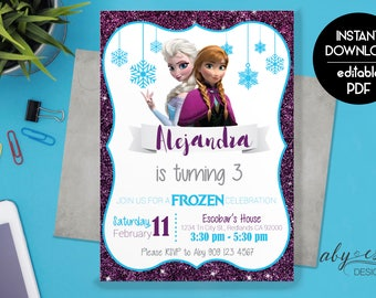 Frozen Birthday Invitation Printable, Frozen Invitation, Frozen Birthday Party Invites. Elsa Anna Invitation, Instant Download
