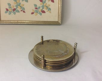 Vintage Brass Plated South Western Theme Coaster Set of 5