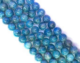 Natural Blue Apatite Beads 8mm Genuine Apatite Gemstone Blue Beads Blue Mala Beads Blue Semi Precious Stone Apatite Bracelet Necklace Supply