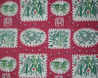 vintage 1950s folk art dancers & bulls print cotton fabric piece 62cms x 108cms