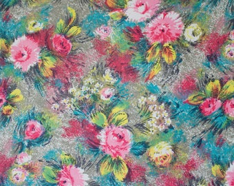 vintage 1950s abstract floral sprays print dress fabric