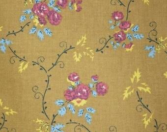 vintage 1990s Soulieado tiny floral & leaf print cotton fabric