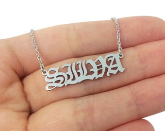 Custom Capital Letters Old English Name Necklace, Capital Silver Name Necklace, Personalized Name Necklace, Bridal Gift, Christmas Gift