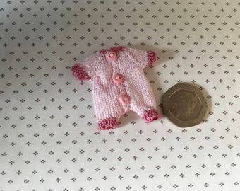 Dolls house Miniature 1/12th knitted toddler doll Baby grow