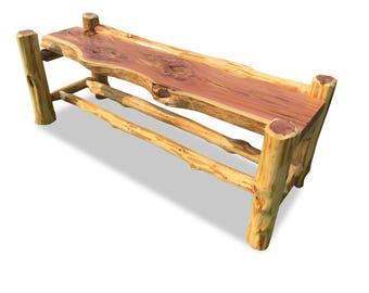 Live Edge Slab Log Bench, Real Cedar Rustic Wood Bench, Raw Edge Unique Slab Top Bench, Rustic Bench, Reclaimed Bench, Reclaimed Table