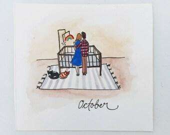 Personalized Pregnancy Announcements / Illustration / Painting / Drawing / Pregnancy Announcement