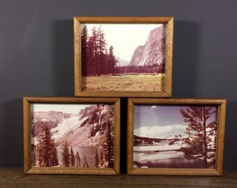Vintage Mountain Photography / Vintage Landscape Photographs / Vintage Sepia Photo Set / Three Framed Vintage Photos / Collectible Photo Set