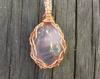 Agate Copper Wire Wrapped necklace