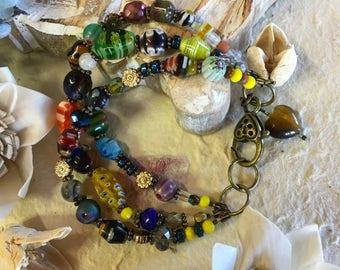 Beaded Bracelet, Multi Strand, Bohemian Style, Heart Clasp, Mille Fleur Beads, Gypsy Spirit, Tigers Eye Heart Charm, Ladies Jewelry